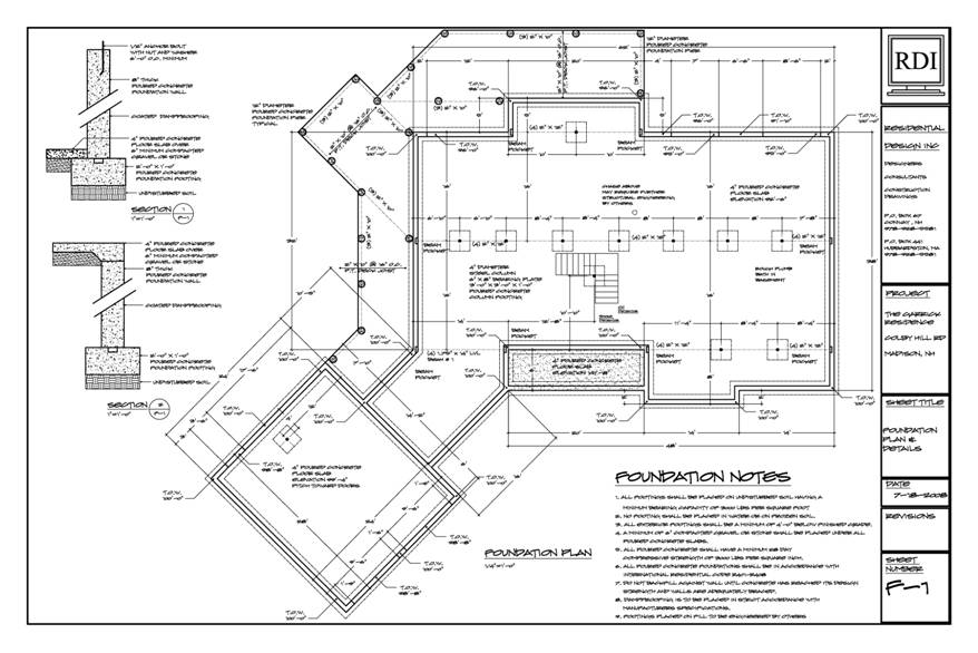 Foundation plan sample drawing for Foundation blueprints